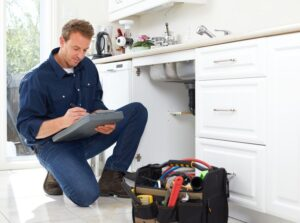 Home Inspector inspecting under kitchen sink